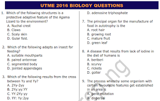 JAMB UTME 2016 BIOLOGY QUESTIONS