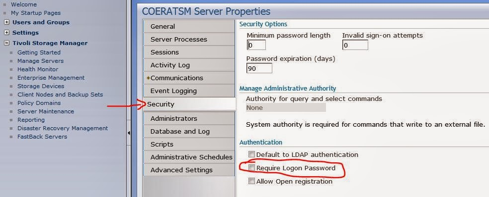 Disable password authentication for TSM (and a good Disaster