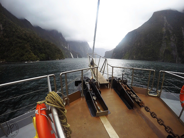 ocean, mountains, clouds, wind, rain, boat
