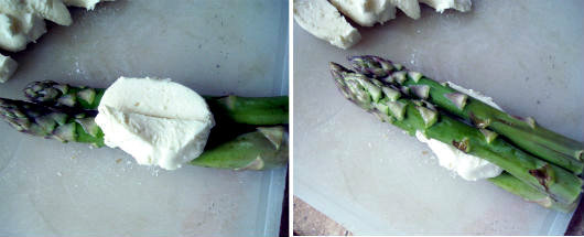 Parcels with asparagus, mozzarella and prosciutto by Laka kuharica: place mozzarella on top