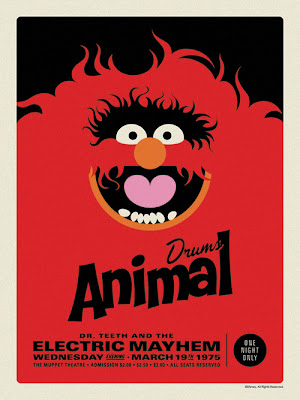 "The Muppets Dr. Teeth and the Electric Mayhem Retro Concert Poster Screen Print Series by Michael De Pippo - ""Animal: Drums"""
