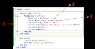 Contoh Deklarasi Pernyataan Visual Basic .Net