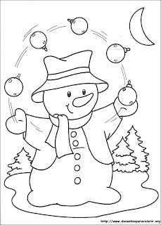 risco de boneco de neve com bolas de natal para pintar