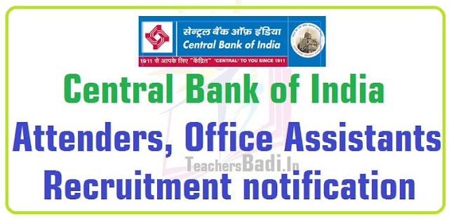 Central Bank of India,Attenders,Office Assistants Recruitment 2016