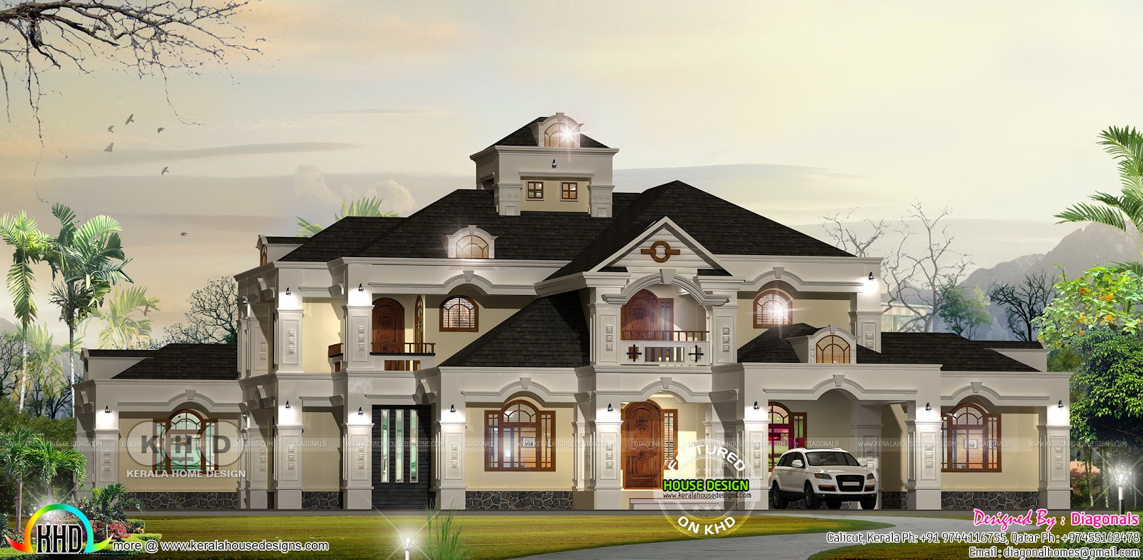 Big luxury colonial home design kerala home design and for Colonial luxury house plans
