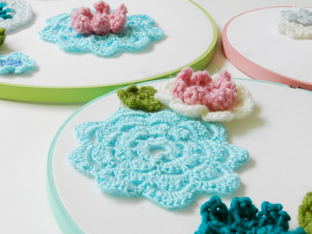 Crochet Flower Embroidery Hoops
