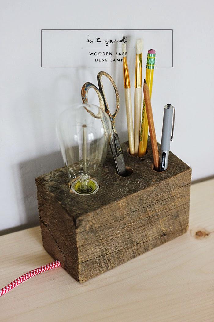 DIY | Wooden Base Desk Lamp | Poppytalk