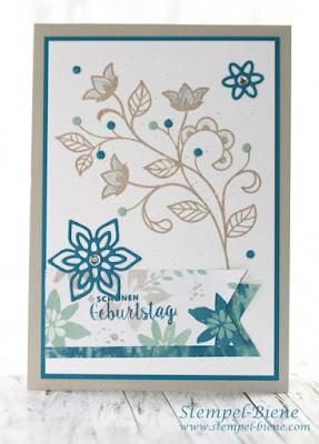 stampinup blühende Worte; Stampinup sammelbestellung; Stampinup Geburtstagskarte; Stampinup blog; Stempel-biene; Stampinup Blütenpoesie; Filigrane Blütenstanze