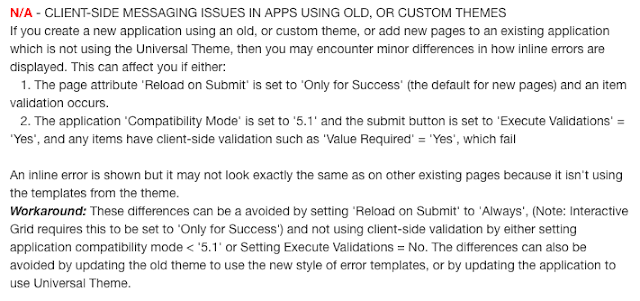 Screenshot showing excerpt from known issues page detailing this issue. To read the full issue please follow the known issues page for 5.1 link, and search for 'client-side messaging issues in apps using old, or custom themes'