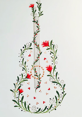 An outline of a guitar painted by You Can Folk It! using folk art comma strokes and dots
