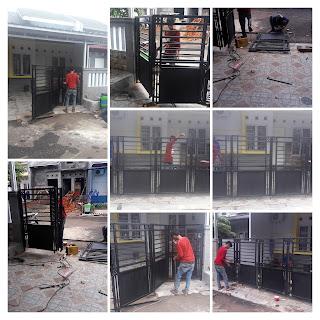 Pemasangan pintu pagar lipat di cibinong bogor,jawa barat