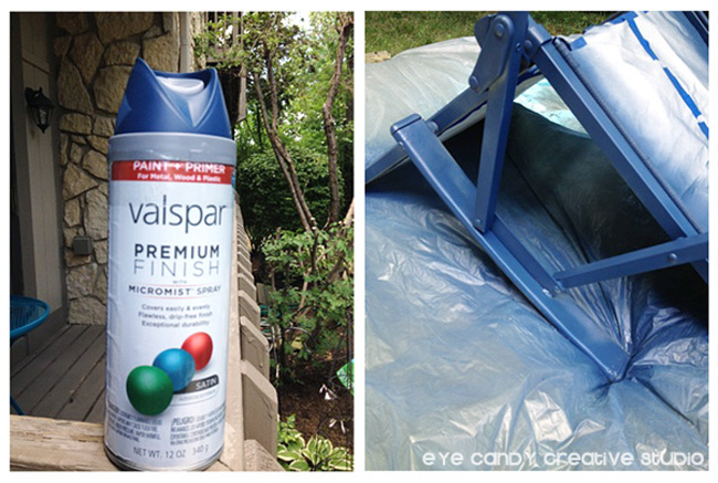 Valpsar spray paint, blue spray paint, painting patio chairs, chair makeover