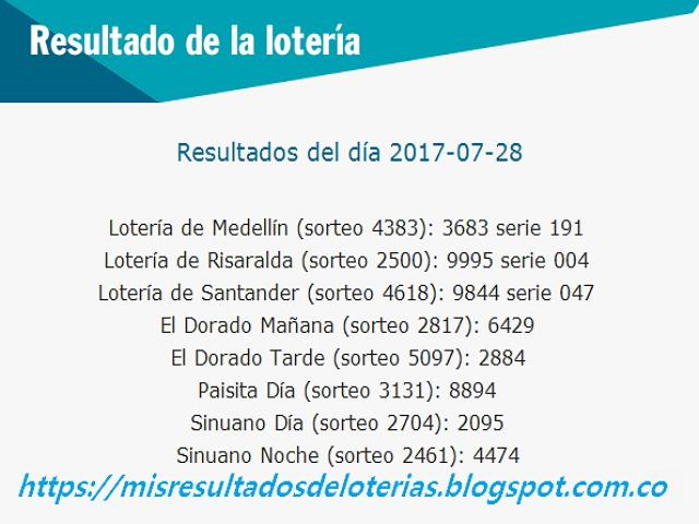 Como jugo la lotería anoche | Resultados diarios de la lotería y el chance | resultados del dia 28-07-2017