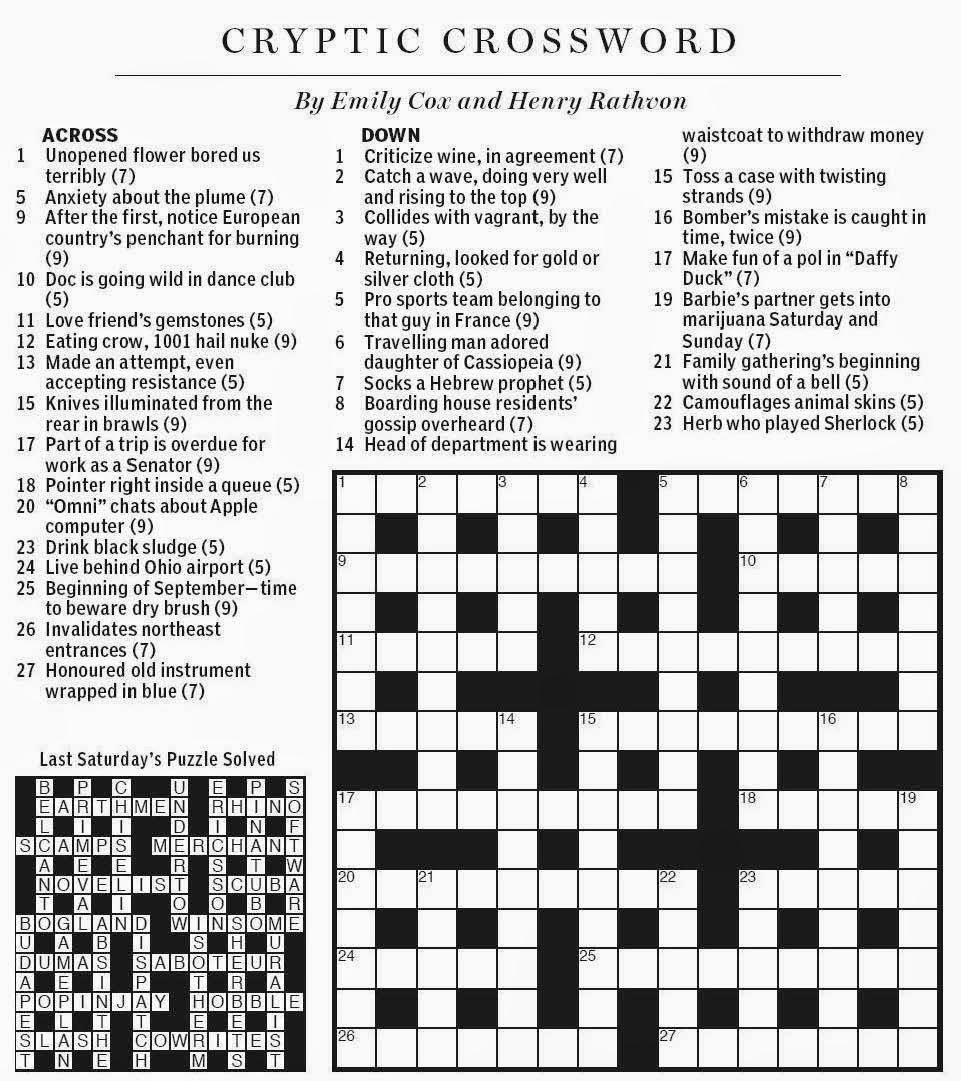 National Post Cryptic Crossword Forum Saturday September 6 2014
