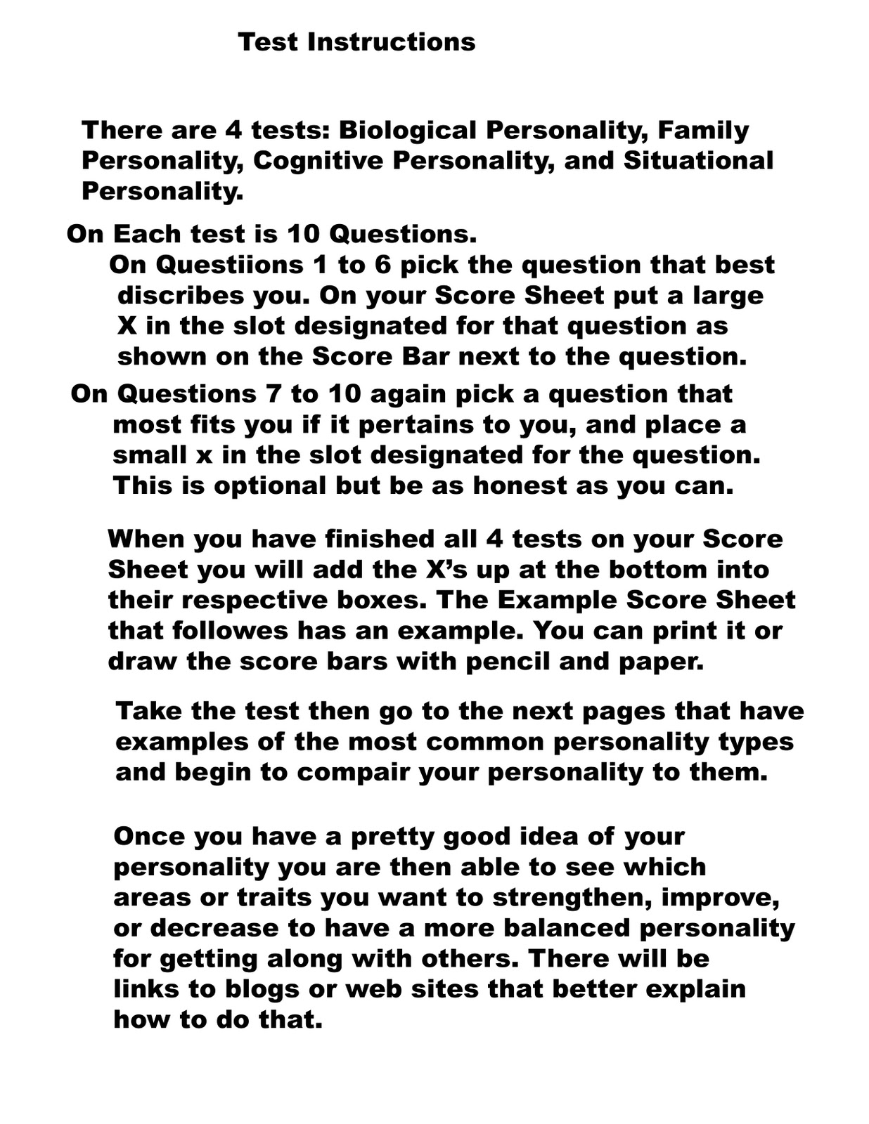 Personality test sites