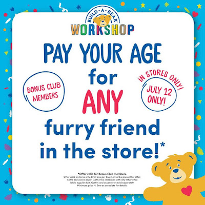 Pay Your Age for any furry friend at Build-A-Bear Workshop® on July 12