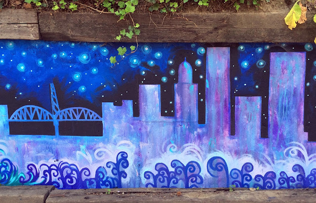 portland skyline, portland cityscape, portland artist, portland muralist, portland mural,