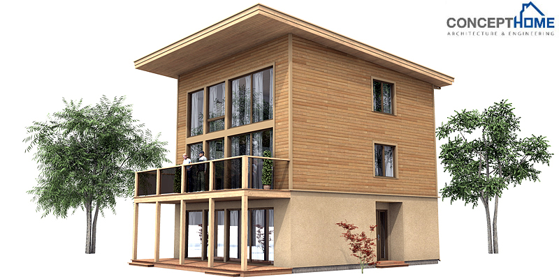 Contemporary House Plans: Small Modern House Plan CH99