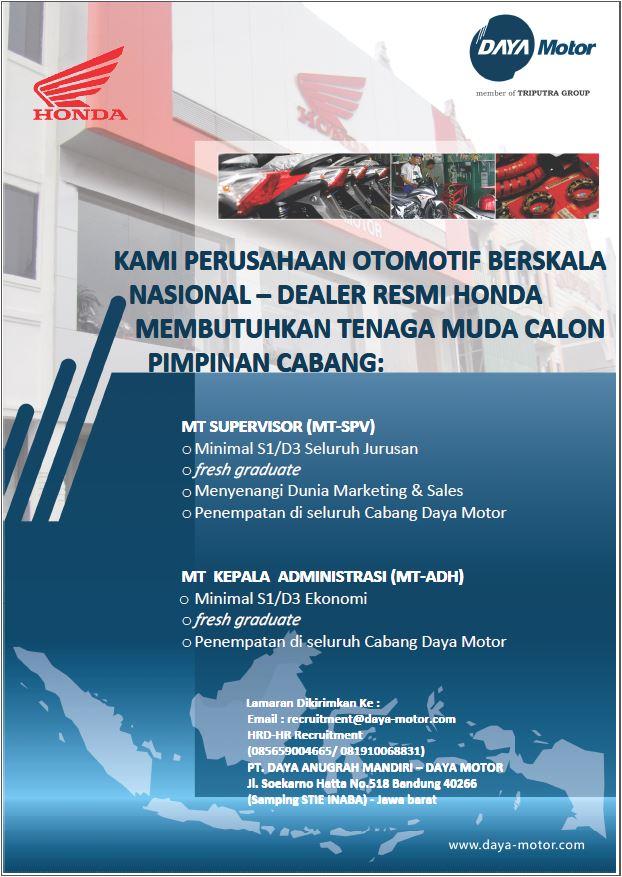 Lowongan Kerja PT Daya Anugrah Mandiri Bandung Fresh Graduate