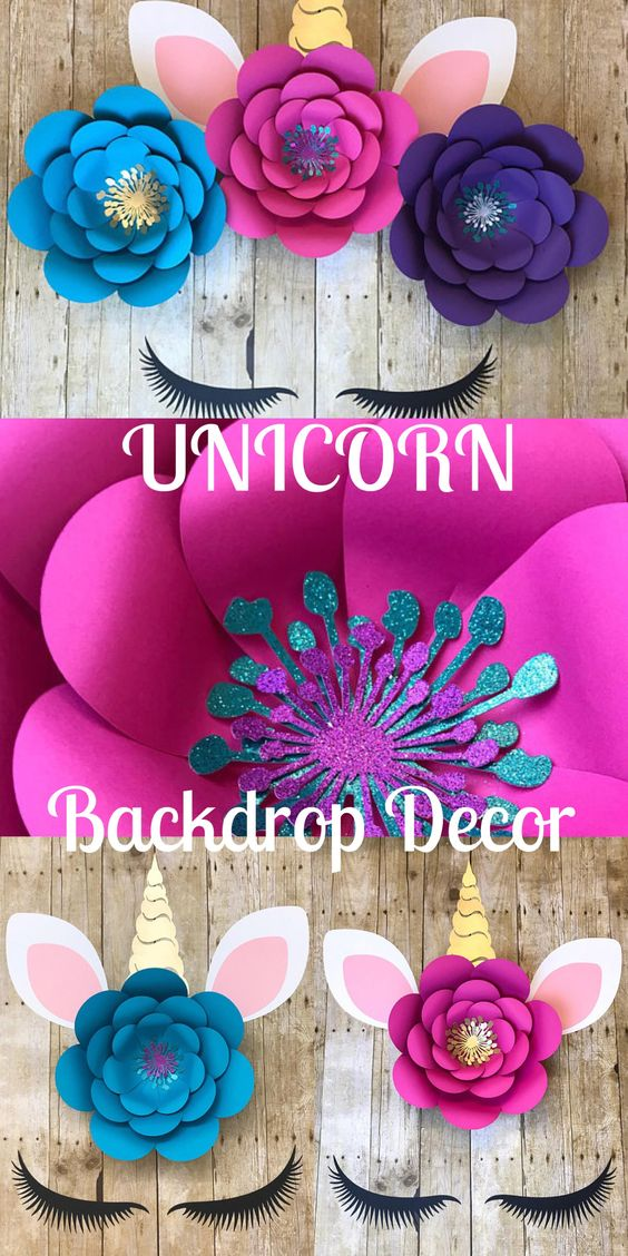 Unicorn Party Fiesta Temática de Unicornio Decoración del Local Flores de Papel