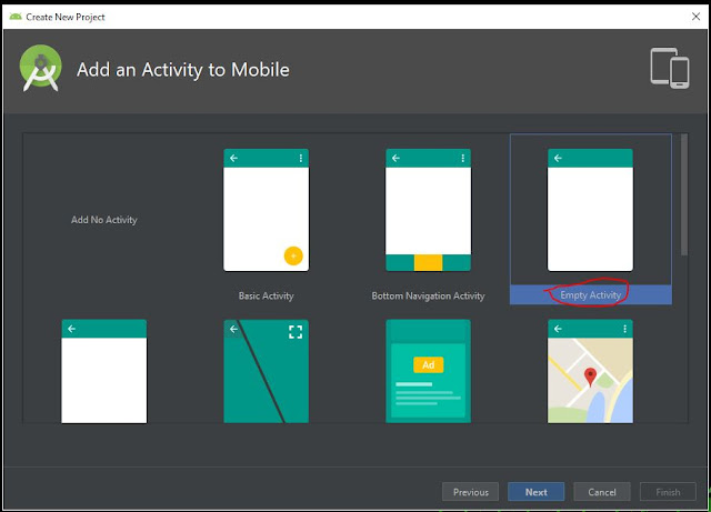 add an activity to mobile pada membuat project atau aplikasi baru di android studio