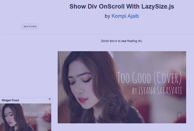 Show Div OnScroll With LazySize.js