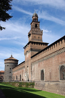 One side of the Sforza Castle in Milan
