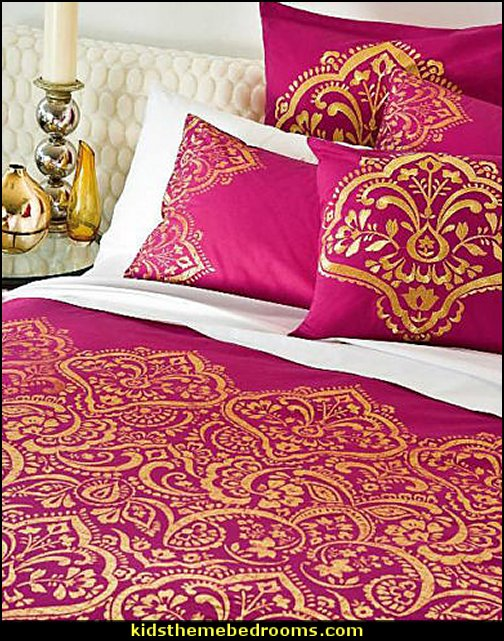 HENNA Hot Pink Gold Jacquard Quilt Cover Set - SINGLE DOUBLE KING Eurocases