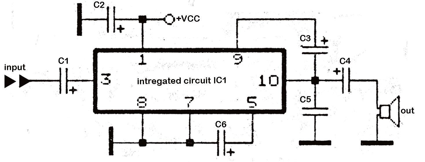 Circuit Diagram Of Audio Amplifier With Ic 810 Intercom Using Lm386 58 Watt Power Diy