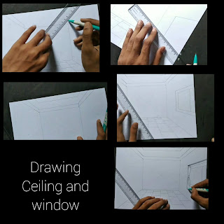 Room drawing with pencil, step by step tutorial, easy room drawing, drawing windows for home , kids drawing,