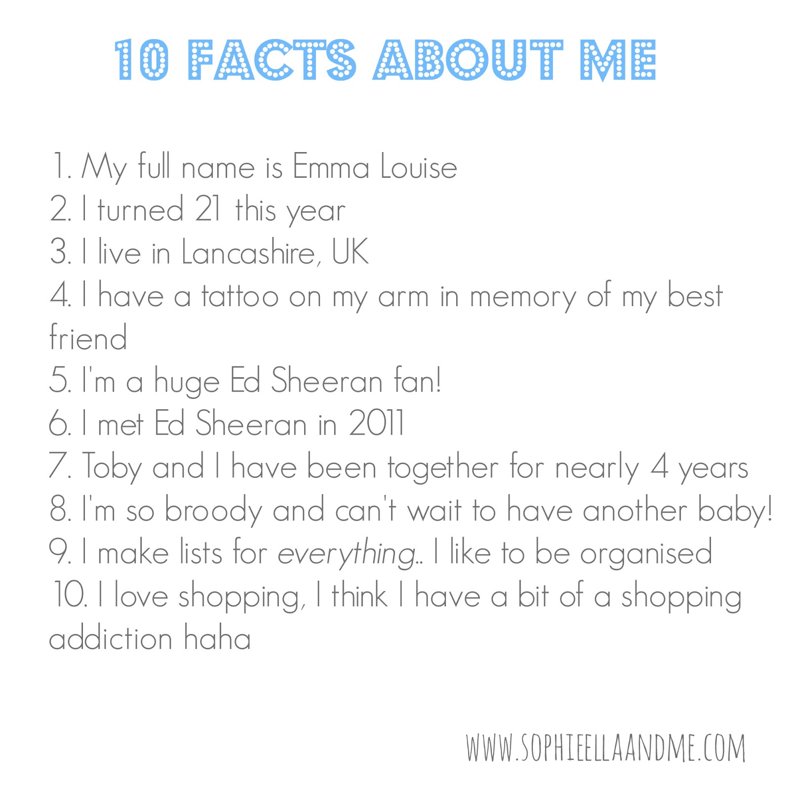 10 Facts About Me