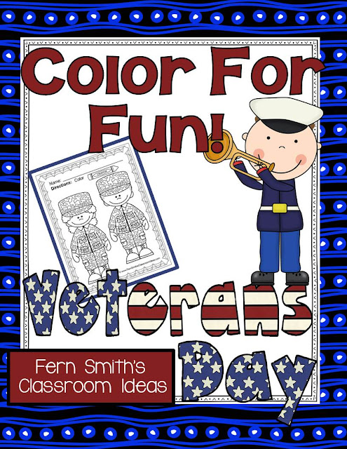 Fern Smith's Classroom Ideas Tuesday Teacher Tips: A Veterans Day Freebie, Free Veterans Day Color For Fun Printable Coloring Pages!