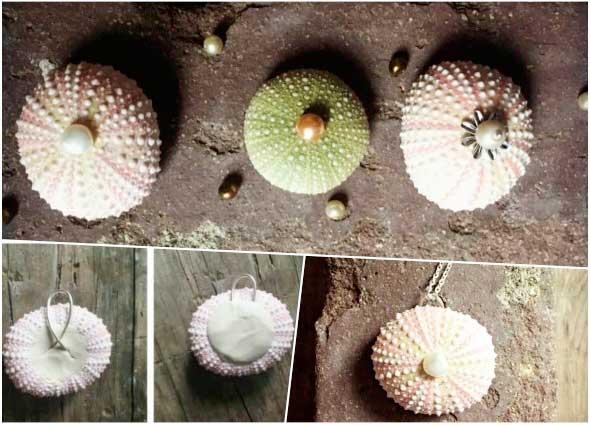 colgantes de erizos de mar, bisutería especies marinas