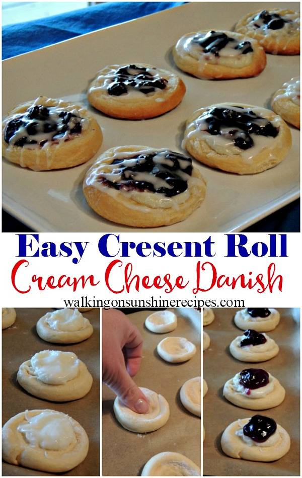 Easy Cream Cheese Danish Recipe with Crescent Rolls from Walking on Sunshine.