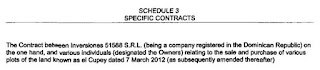 """""""Contract by Inversiones 51855 SRL Dominican Republic for sale & purchase of plots of land called el Cupey""""."""