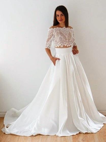 Two Piece A-line Off-the-shoulder Lace Taffeta Appliques Lace Court Train 1/2 Sleeve Unique Wedding Dresses