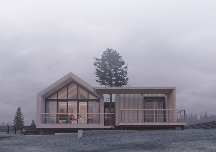 Proyecto 3D de una casa modular de madera