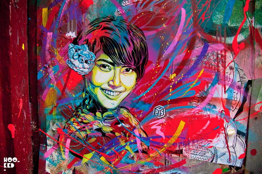 French Street artist C215's stencil work in Shoreditch, London