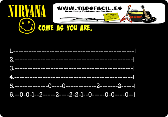 come as you are. nirvana, tabs