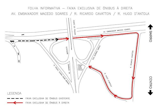 Faixa exclusiva para ônibus na Avenida Embaixador Macedo Soares, Rua Ricardo Cavatton e Rua Hugo D'Antola