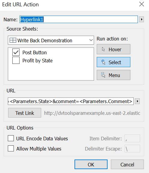 Workbook: Tableau Parameter Comment Write-Back Example