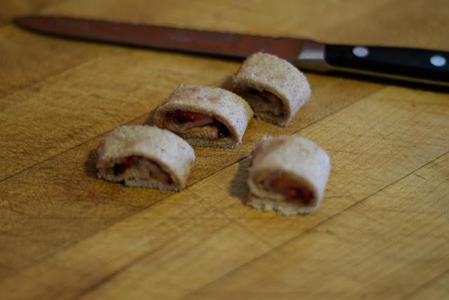 Slice into sushi rolls.