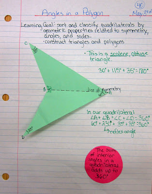 photo of Angles in a polygon journal entry @ Runde's Room