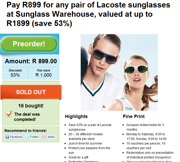 c61b70ec6eb3 Groupon - Overpriced Lacoste Sunglasses
