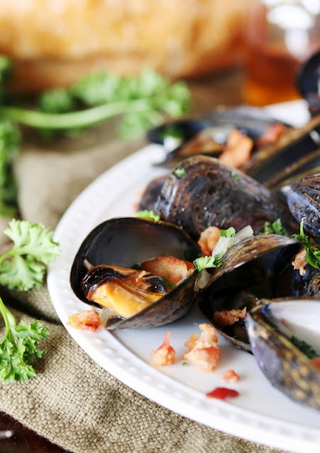 Bourbon and Bacon Steamed Mussels make for one tasty and impressive mussels appetizer!