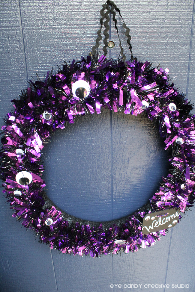 halloween outside decor, front door wreath, halloween wreath, purple wreath