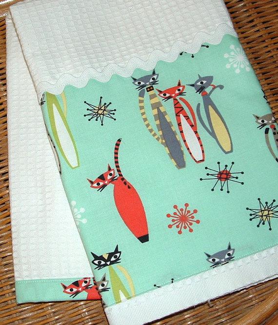 Atomic Kitties Midcentury Kitchen Towel Starburst