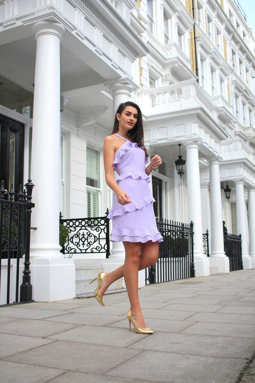 spring party dress lilac ruffle dress peexo