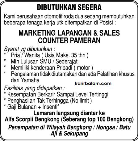 Lowongan Kerja PT. AlfaScorpii Indonesia