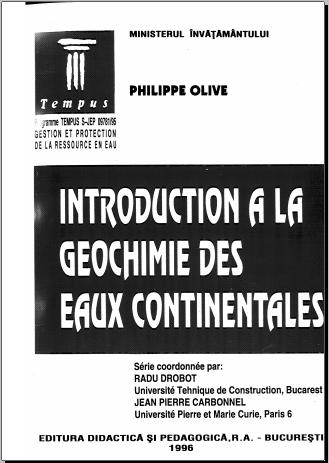 Livre : Introduction à la géochimie des eaux continentales - Philippe Olive